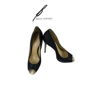 Brian Atwood Suede & Snake Skin Shoes. Sz 39
